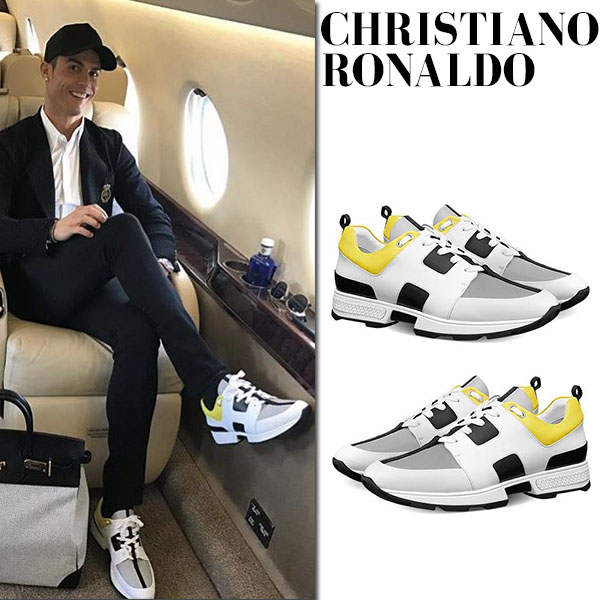 Christiano Ronaldo in white yellow Hermes sneakers celebrity mens fashion finder
