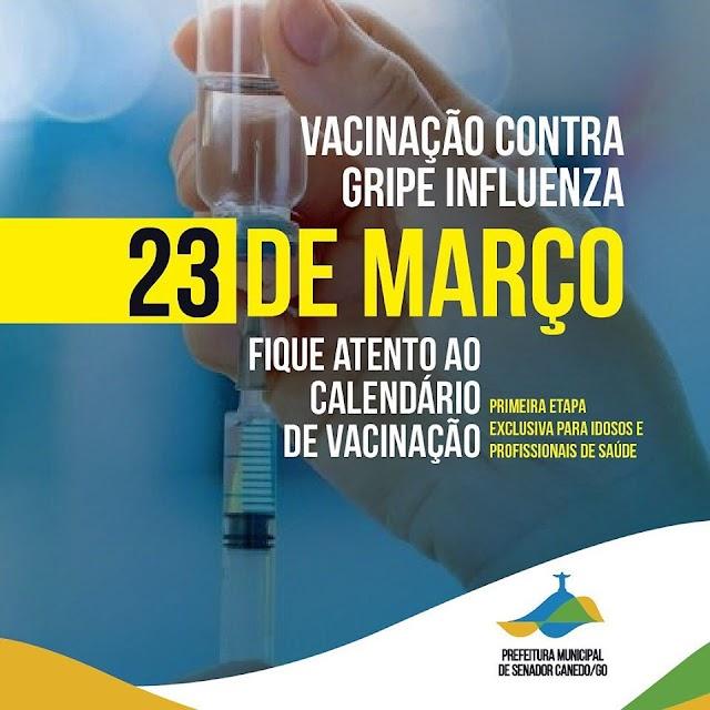 Senador Canedo: Vacinação contra gripe Influenza foi antecipada e começa nesta segunda
