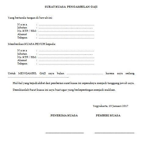 Download Contoh Surat Kuasa Pengambilan Gaji Karyawan Pabrik dan Pensiunan PNS Di Bank