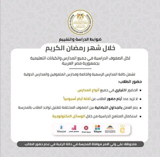 ضوابط الدراسه والتقييم خلال شهر رمضان المبارك