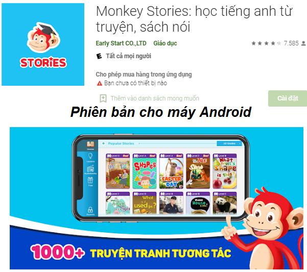 Tải Monkey Stories - App học tiếng Anh từ truyện tranh, sách nói cho bé d