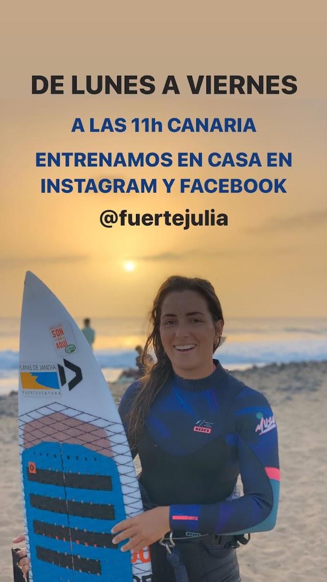 Julia Castro entrena desde su casa en Fuerteventura ,difundiendolo por Redes Sociales