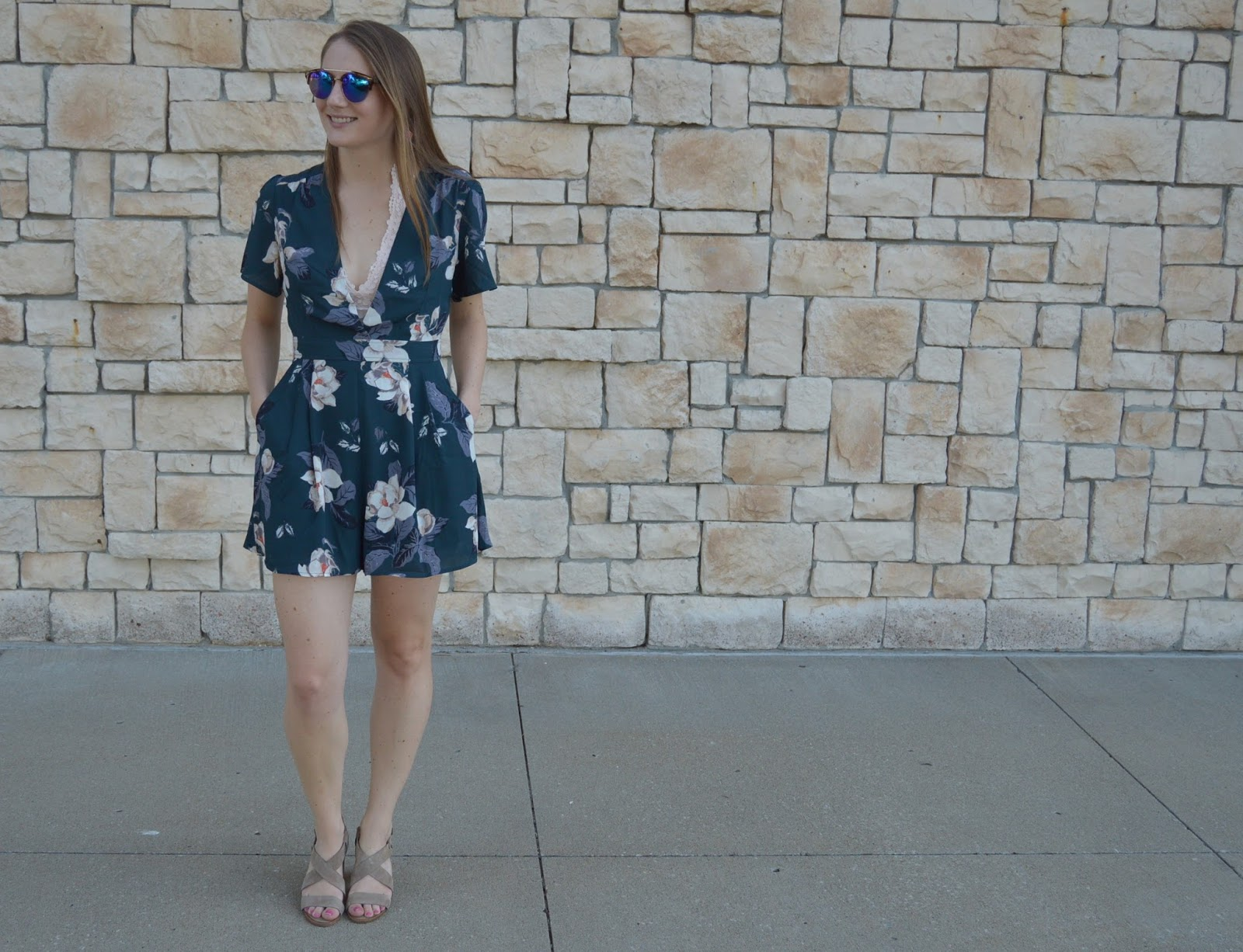 romper with a bralette | how to style a bralette with a romper | teal floral print romper | astr floral print romper | a memory of us | kansas city fashion blog | date night outfit ideas for summer |
