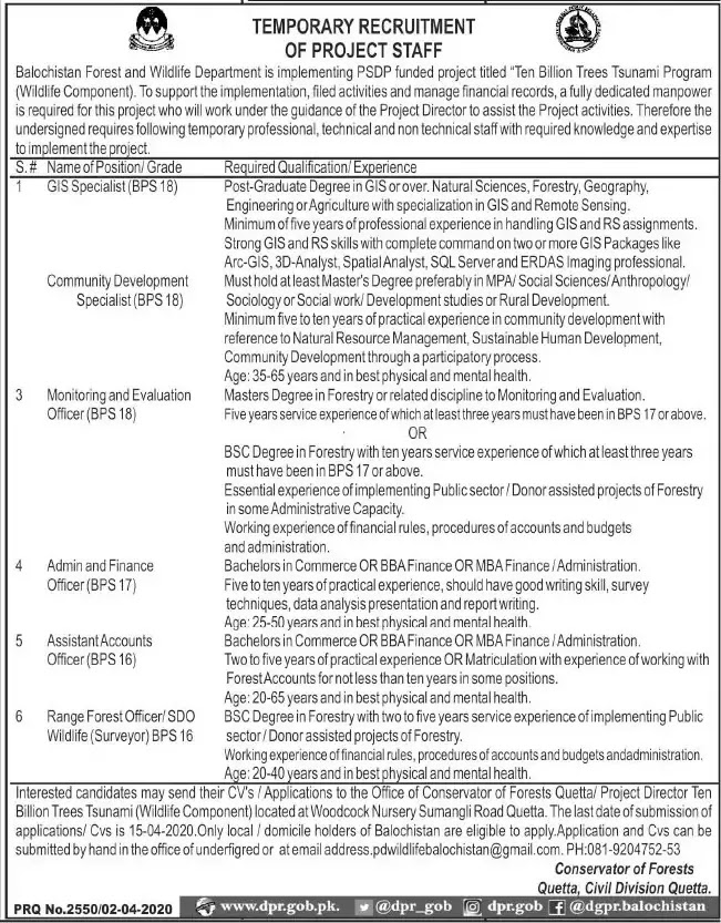 Jobs in Forest and Wildlife Department Latest advertisement 2020
