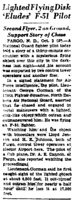 Lighted Flying Disk' Eludes' F-51 Pilot - AP 10-2-1948