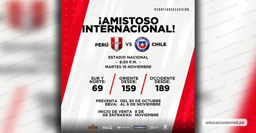 PERÚ Vs. Chile: Este Miércoles 30 Octubre se inicia preventa de entradas para partido amistoso