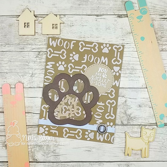 Pawprint Shaker Card by Naki Rager | Pawprint Shaker Die Set, Say Woof Stamp Set & Woof Stencil by Newton's Nook Designs #newtonsnook #handmade