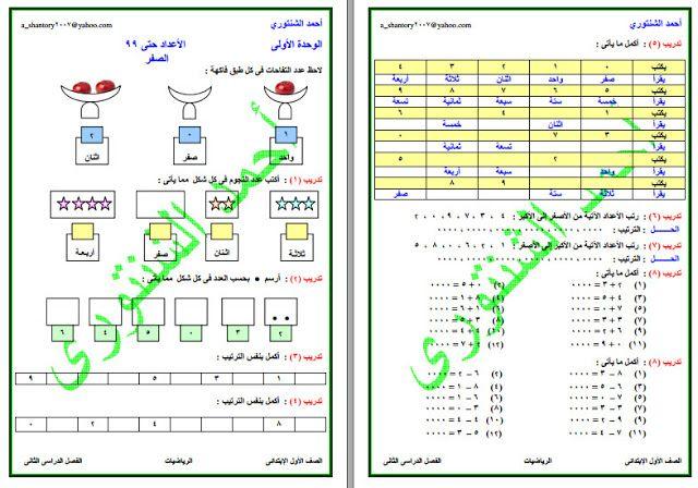 مذكرة رياضيات للصف الاول الابتدائي الترم الثاني لعام 2022