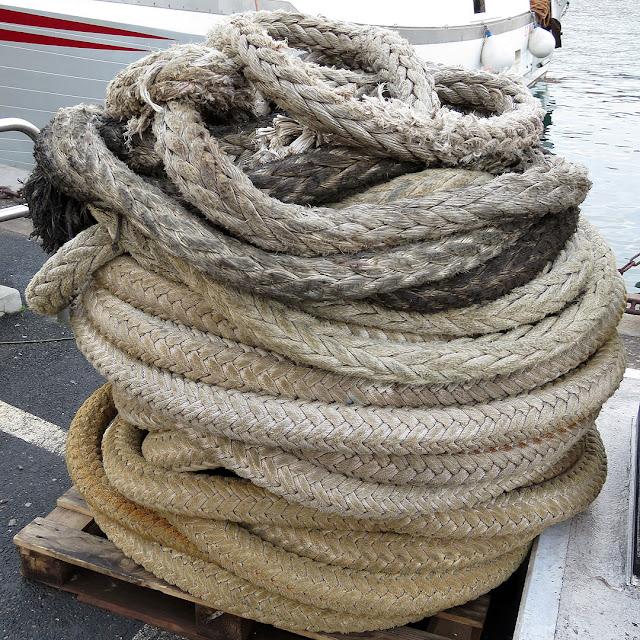 Una gomena arrotolata su un pancale, porto di Livorno