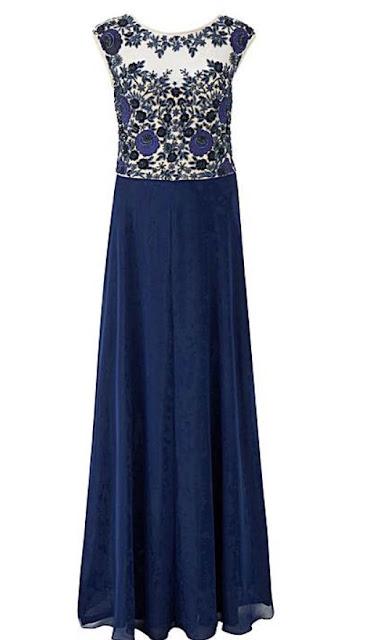 navy blue long smart dress