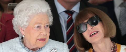 "df27d03ca6dd Queen Elizabeth II was front row … the f  king front row … at London  Fashion Week and she was seated right next to Anna ""Nuclear"" Wintour!"