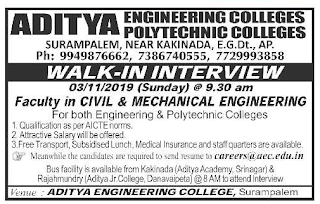 Aditya Engineering Polytechnic Colleges Assistant Professor Jobs in Mechanical Engineering, Civil Engineering