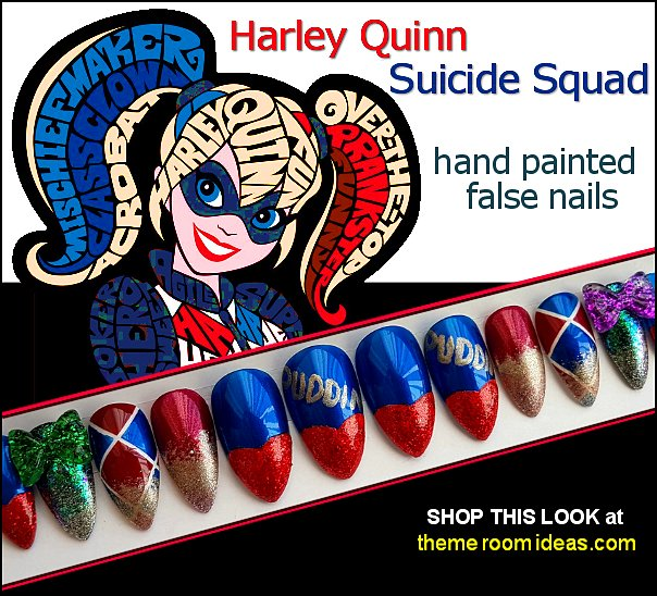 Harley Quinn Suicide Squad hand painted false nails Harlequin nails The Joker  nails Cosplay nail designs Harley Quinn Inspired