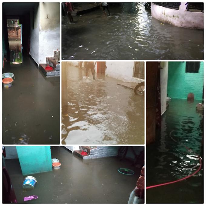 बारिश से जलमग्न हुईं सड़के, घरों में घुसा पानी
