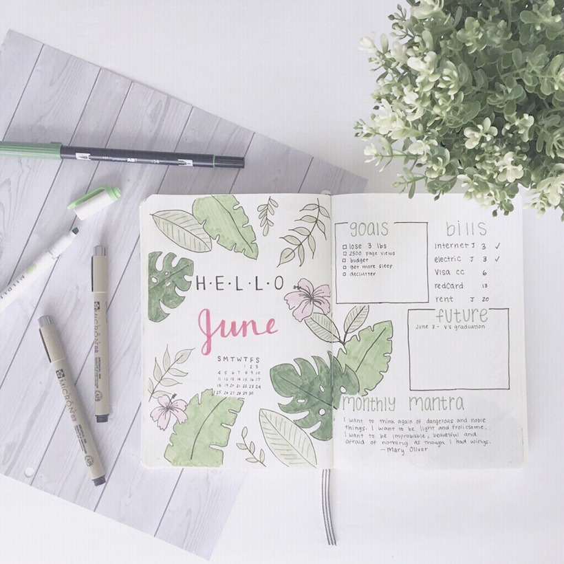 Example of Bullet Journal Monthly Spreads 4