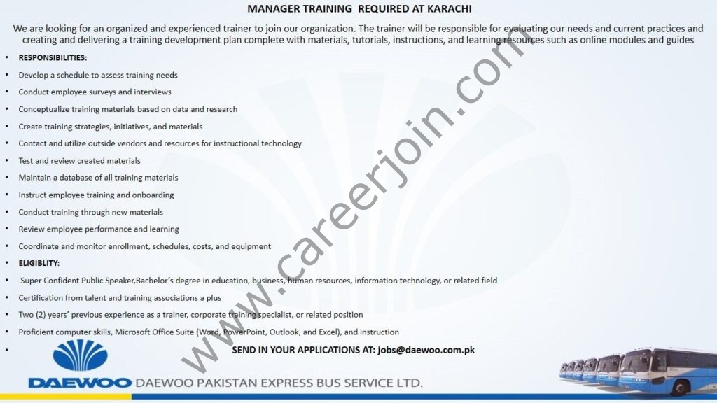 Daewoo Pakistan Express Bus Service Ltd Jobs 2021 in Pakistan