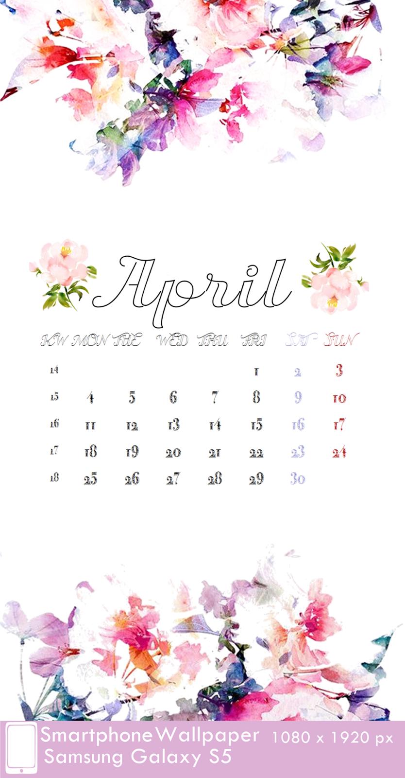 Samsung Galaxy S5 Wallpaper Calendar April 2016 fest 1080 x 1920 px