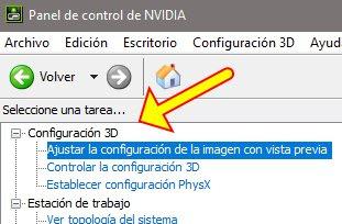 Panel de Control de NVIDIA.