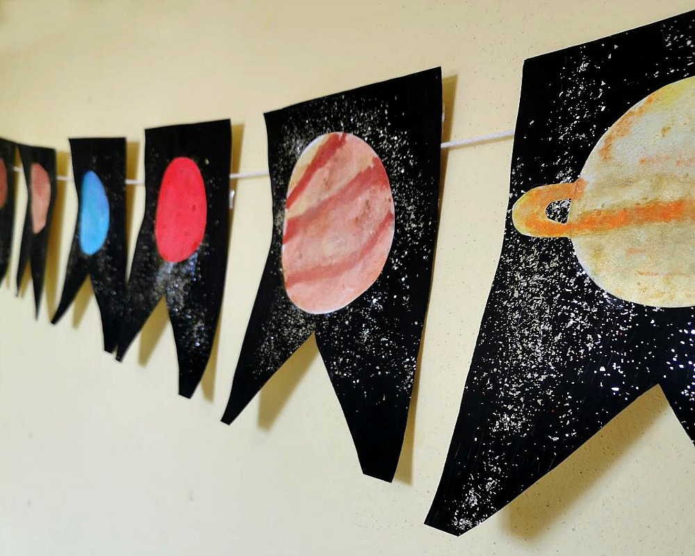 Watercolour Planet Banner - Kids Craft