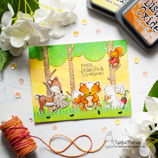 Picnic Critters Cards by Zsofia Molnar | Newton's Picnic Stamp Set, Forest Scene Builder and Land Borders Die Set by Newton's Nook Designs #newtonsnook #handmade