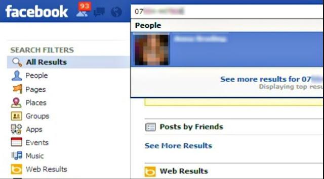 البحث عن أي شخص عن طريق رقم الهاتف بإستعمال فيسبوك