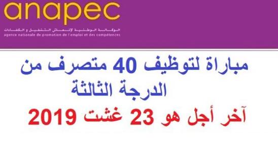 الوكالة الوطنية لإنعاش التشغيل والكفاءات : مباراة لتوظيف 40 متصرف من الدرجة الثالثة، آخر أجل هو 23 غشت 2019
