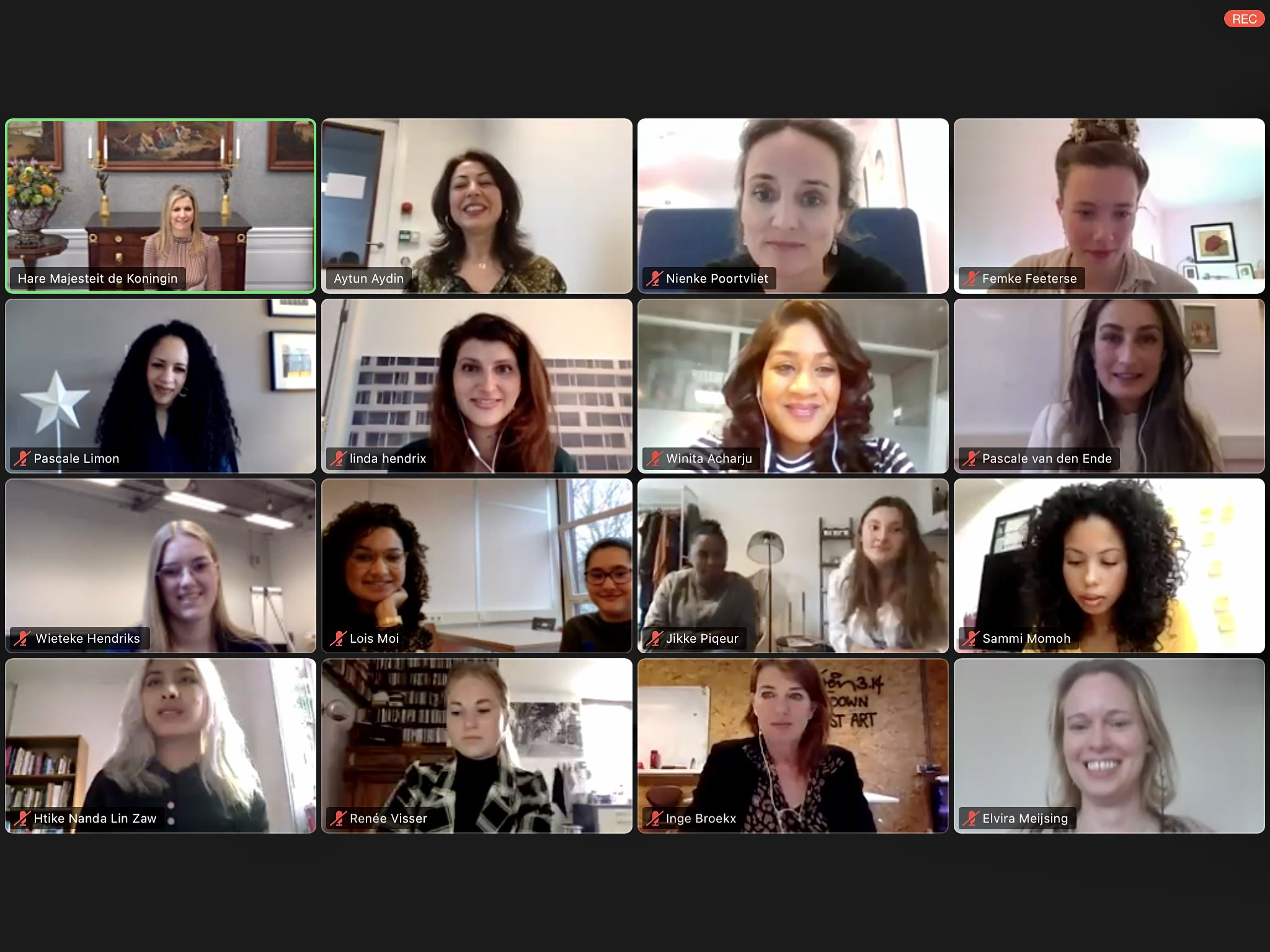 Queen Maxima of Netherlands had a virtual meeting with the Elance founder Aytun Aydin, employees, coaches and participants