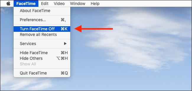 انقر فوق إيقاف تشغيل FaceTime من القائمة لتعطيل FaceTime بسرعة على جهاز Mac