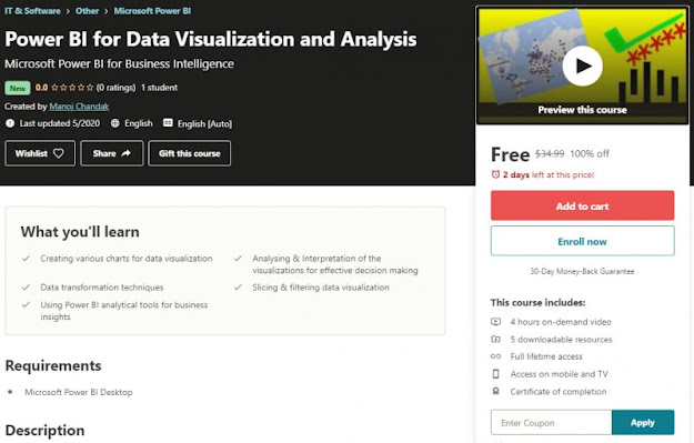 [100% Off] Power BI for Data Visualization and Analysis  Worth 34,99$