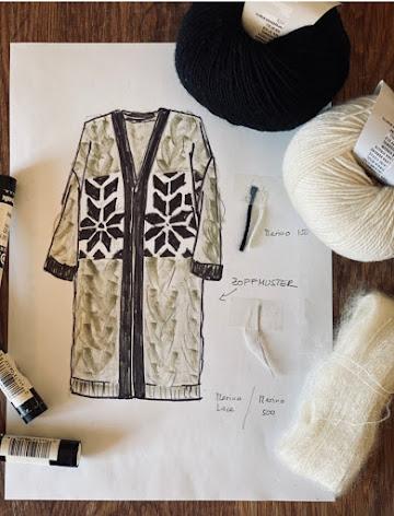 Mantel mit Zopf und Intarsia