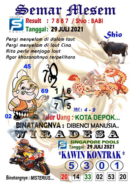 Syair Semar Mesem SGP Kamis 29-07-2021