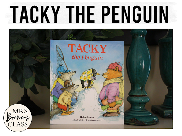 Tacky the Penguin book study Common Core literacy companion activities and craftivity winter K-1