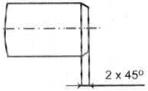 Gambar penunjukan ukuran champer dengan sudut kemiringan 40° diameter luar benda