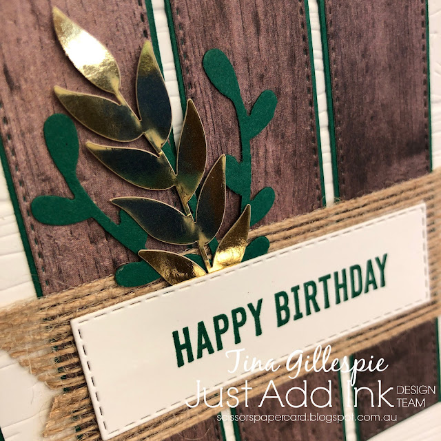 scissorspapercard, Stampin' Up!, Just Add Ink, Itty Bitty Birthdays, In Good Taste DSP, Forever Gold SP, Ornate Layers Dies, Pinewood Planks 3DEF, Sprig Punch