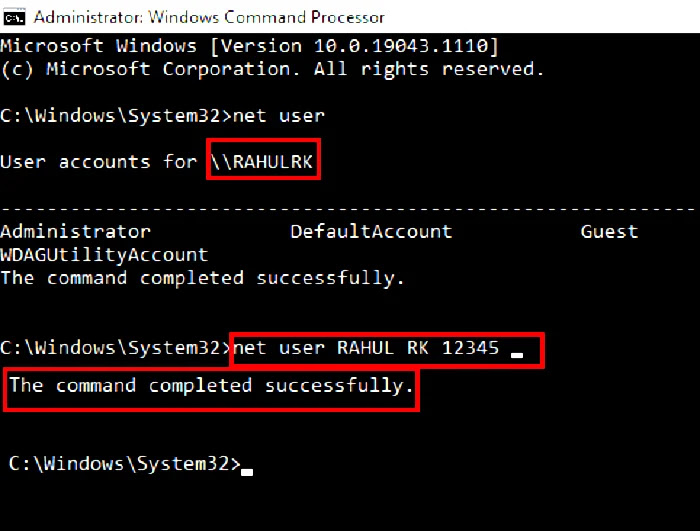 Net users command prompt