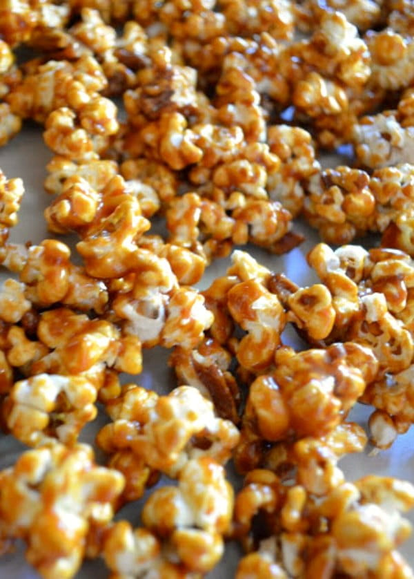 Homemade Caramel Corn Recipe is a salty sweet treat perfect for Christmas gifts or Halloween from Serena Bakes Simply From Scratch.
