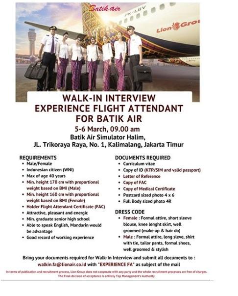 Rekrutmen Pegawai SMA Batik Air dan Lion Air Bulan Maret 2020