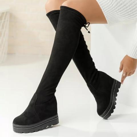 Cizme casual peste genunchi cu platforma ascunsa negre