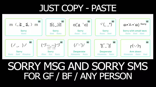 100 Sorry Text Message Easy Copy Paste for Boyfriend or Girlfriend