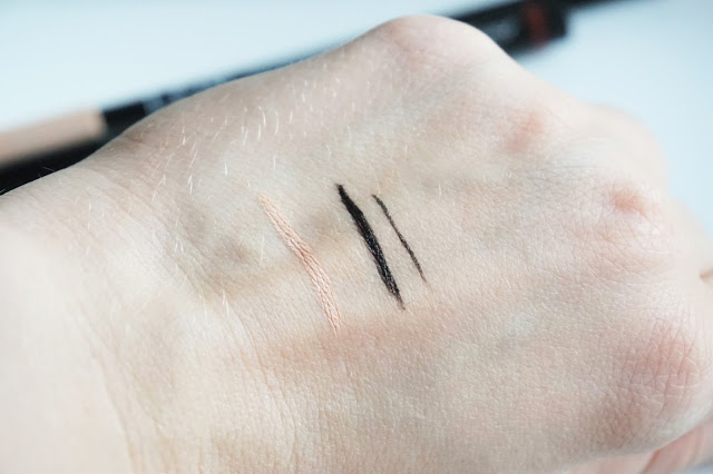 L.O.V Cosmetic Confidentaliner Eyeliner Pen in 100 Secretive Black, Confessioneyes Kohl Pencil in 120 Veil of Nude Swatch