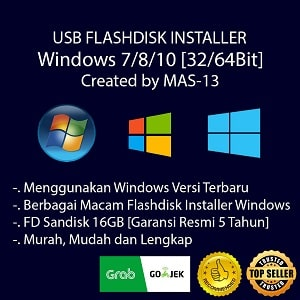 USB Flashdisk Installer Windows 7 8.1 10 + Bonus Paket Software Murah