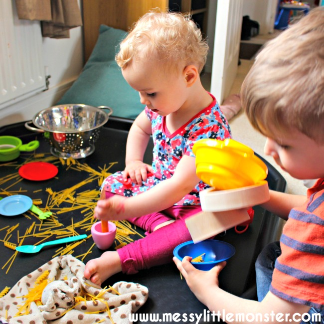Playing with pasta and spaghetti for toddlers and preschoolers