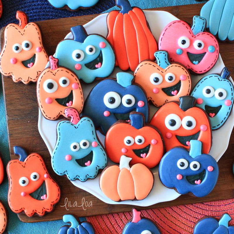 Bright and happy pumpkin chocolate sugar cookies