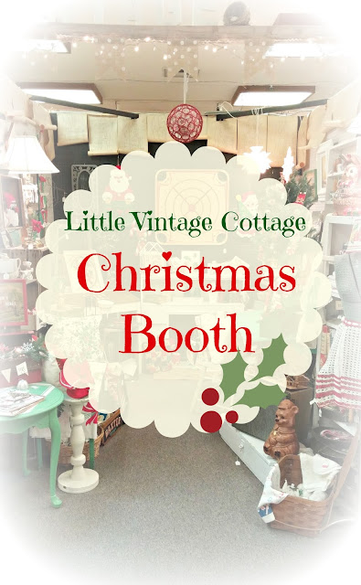 Antique mall booth decorated for Christmas
