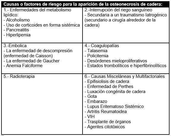 Causas o factores de riesgo para la aparición de esta patología Fuente: Dr. Cruz