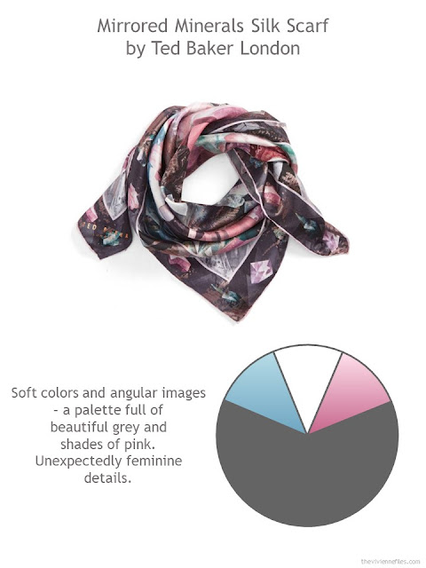 Mirrored Minerals square silk scarf by Ted Baker London with style guidelines and color palette