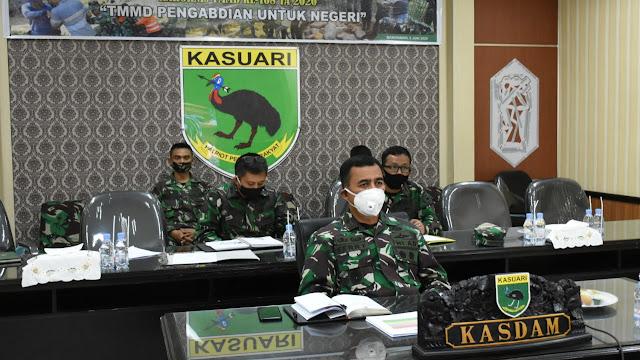 Kodam XVIII/Kasuari Ikuti _Vicon_ Dengan Mabesad Tentang Rakernis TMMD Ke-108 TA 2020