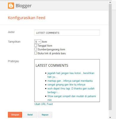 Cara Menampilkan Komentar [Last Comment] Pada Blog