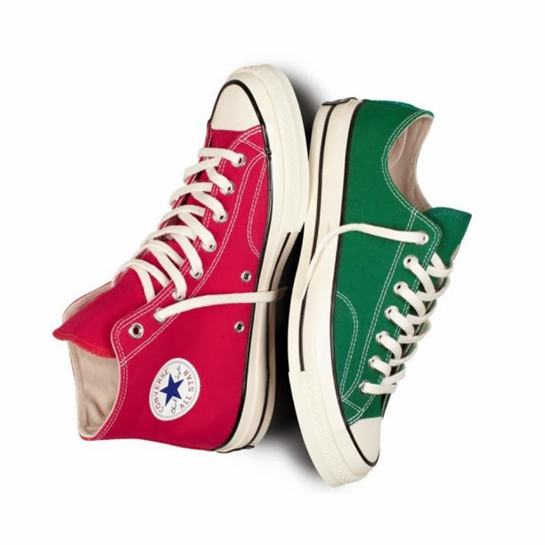 6846fe17bc72 Converse First String Chuck Taylor 1970 s Hi and Ox. Red and Amazon Green.