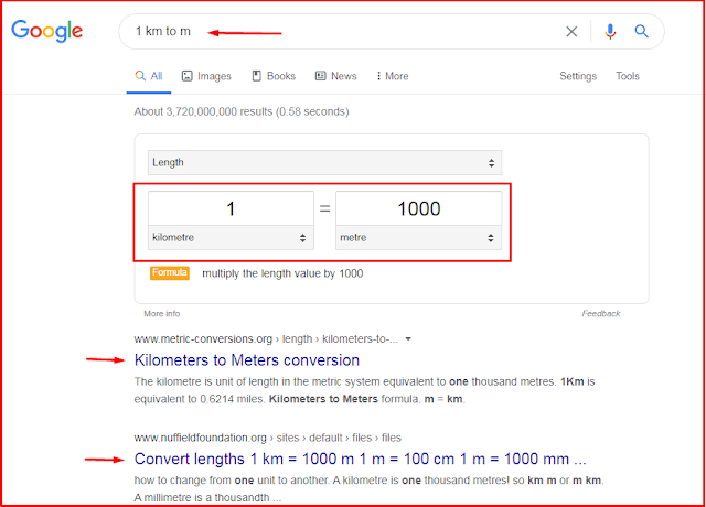unit conversion using google search engine